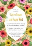 Vector bloemenillustratie van huwelijksuitnodiging, groetkaart, royalty-vrije illustratie