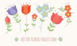 Vector bloemeninzameling Royalty-vrije Stock Afbeeldingen