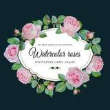 Vector bloemenkaart met waterverf roze rozen in uitstekende stijl Royalty-vrije Stock Foto's