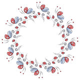 Vector bloemenkader met insecten Leuke getrokken grens in de vorm van cirkel met decoratieve rozen en vlinders Stock Foto