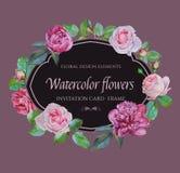 Vector bloemenkader met waterverf roze rozen en purpere pioenen Stock Fotografie
