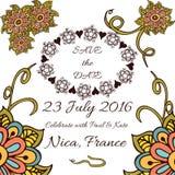 Vector bloemenkader voor huwelijksuitnodigingen en Vector Illustratie