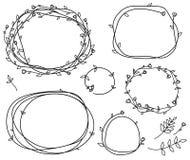 Vector bloemenkaderssilhouetten Royalty-vrije Stock Afbeeldingen