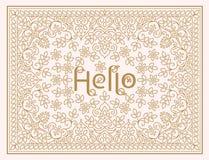 Vector bloemenontwerpmalplaatje met het van letters voorzien - Hello Het elegante ontwerp van de lijnkunst voor uitnodiging, groe Royalty-vrije Stock Afbeelding