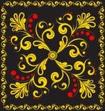 Vector bloemenornament op zwarte. Stock Afbeelding