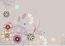 Vector bloemenpastelkleurprentbriefkaar Stock Foto's