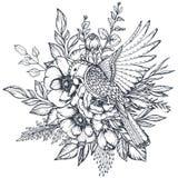 Vector bloemensamenstelling van hand getrokken anemoonbloemen en overladen vogel royalty-vrije illustratie