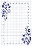 Vector bloemenspatie voor brief of groetkaart Geruit document, witte geregelde vorm met hand getrokken bloemen en bladeren Royalty-vrije Stock Fotografie
