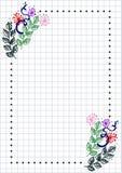 Vector bloemenspatie voor brief of groetkaart Geruit document, witte geregelde vorm met hand getrokken bloemen en bladeren Stock Fotografie