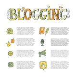 Vector blogging elements and text. Vector blogging hand drawn elements with text.  Speech bubble, like, microphone, wi-fi, earth, stickers. Blogging icons and Royalty Free Stock Photo