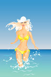 Vector Blond Girl and the Sea Stock Photo
