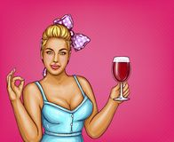 Vector blonde overweight woman holds glass of wine. Fat lady in blue blouse, bow-knot. Sommelier with beverage, alcohol drink  on pink dotted background, pop Royalty Free Stock Photo