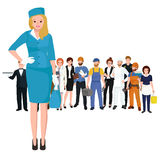 Vector blonde woman stewardess in blue uniform, Famale worker Royalty Free Stock Image