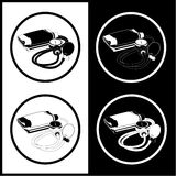 Vector blood pressure icons. Black and white. Simply change Royalty Free Stock Photo