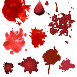 Vector blood splatters isolated on white. Design elements in various style. Red splashes. Vector blood splatters isolated on white. Red splashes, drops and blots Stock Photo