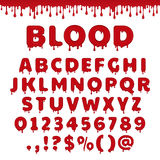Vector bloody latin alphabet. Bloody latin alphabet, abc. Vector font set with blood drop or red liquid. Wet numbers and letter symbols in halloween horror style Stock Images