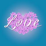 Vector blooming lilac heart with romantic Love text on gradient blue background Stock Photography