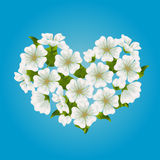 Vector blooming sakura, cherry or apple tree heart. On gradient blue background. Fresh, spring romantic design for greeting, wedding, birthday card. Hanami Royalty Free Stock Photos