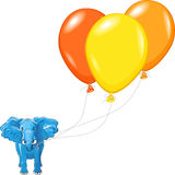 Vector Blue African elephant with balloons Stock Image