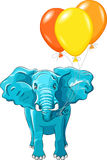 Vector Blue African elephant with balloons. Happy huge African elephant with multi-colored balloons isolated on white background royalty free illustration