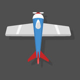 Vector blue airplane illustration top view and aircraft transportation travel way design journey object. Royalty Free Stock Photo