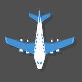 Vector blue airplane illustration top view and aircraft transportation travel way design journey object. Royalty Free Stock Photography