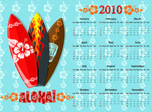 Vector blue Aloha calendar 2010 with surf boards. American blue Aloha  calendar 2010 with surf boards, starting from Sundays Stock Image