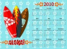 Vector Blue Aloha Calendar 2010 With Surf Boards Stock Image