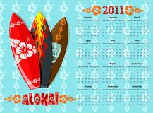 Vector blue Aloha calendar 2011 with surf boards. European blue Aloha  calendar 2011 with surf boards, starting from Mondays Stock Photos