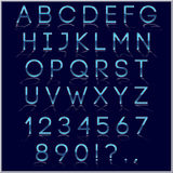 Vector blue alphabet letter, digits and Royalty Free Stock Images