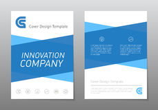Vector blue annual report, brochure or flyer design template. Le Stock Image