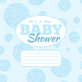Vector blue baby shower party invitation (baby boy) with doodled swirles and empty space for text. Royalty Free Stock Photos