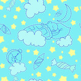 Vector blue background with a bear sweet clouds and the stars. Vector pattern blue with dream bear Stock Photos