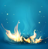 Vector blue background with a burning fire Royalty Free Stock Photography