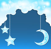 Vector blue background with clouds, the new moon Royalty Free Stock Images