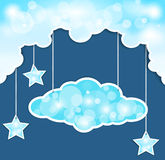 Vector blue background with clouds and the stars Stock Photography