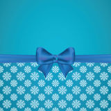Vector blue background with cute bow and pattern Stock Photo