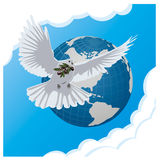 Vector blue background with dove. And globe Royalty Free Stock Photography