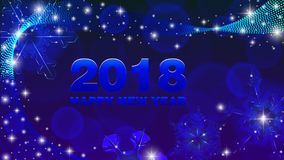 Vector background Happy New Year 2018. Vector blue background Happy New Year 2018 with snowflakes Royalty Free Stock Image