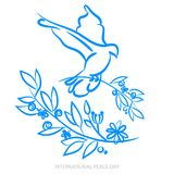 Vector blue background for International Day of peace. Concept illustration with dove of peace, olive branch. International Peace Stock Photography