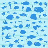 Vector blue background with marine fishes. Vector blue background with dark blue sea fishes sea horses, waves and bubbles Stock Photography