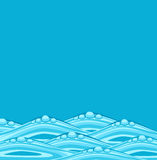 Vector blue background with ocean waves Stock Photography