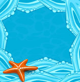 Vector blue background with ocean waves and starfi Stock Images