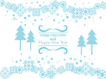 Vector blue background with snowflakes and curl element. Royalty Free Stock Images