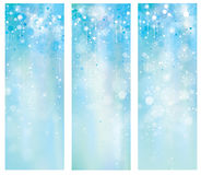 Vector blue banners. Vector blue, bokeh, sparkle banners Royalty Free Stock Images