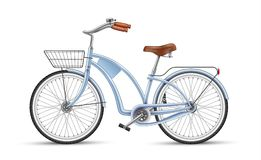 Vector blue bicycle realistic 3d isolated. Blue bicycle. Realistic vector vintage bike with basket. 3d detailed photo-realistic illustration isolated. Sport royalty free illustration