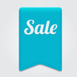 Vector blue big sale ribbon on grey background. Royalty Free Stock Photos