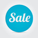 Vector blue big sale ribbon on grey background. Royalty Free Stock Photo