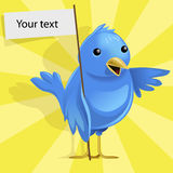 Vector blue bird. Funny vector blue bird on yellow background stock illustration