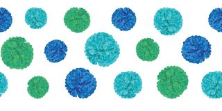 Vector Blue Birthday Party Paper Pom Poms Set Horizontal Seamless Repeat Border Pattern. Great for handmade cards Stock Photography